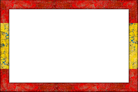 Empty Wooden Picture Or Blackboard Frame In Spain Spanish Flag ...