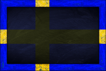 empty chalkboard blackboard with wooden sweden swedish flag frame blank Stock Photo