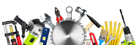 DIY tools collage concept with copy space and circular saw blade isolated on white wide panorama background