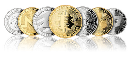crypto currency coin panorama set collection row silver gold isolated on white background bitcoin ethereum monero dash litecoin ripple iota Zdjęcie Seryjne