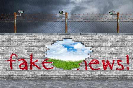 fake news concept hole in border wall showing the truth green grass meadow blue sky background Banque d'images - 102773078