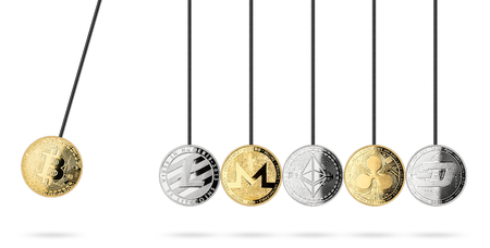 bitcoin cryptocurrency crypto coin pendulum abstract finance concept isolated on white background
