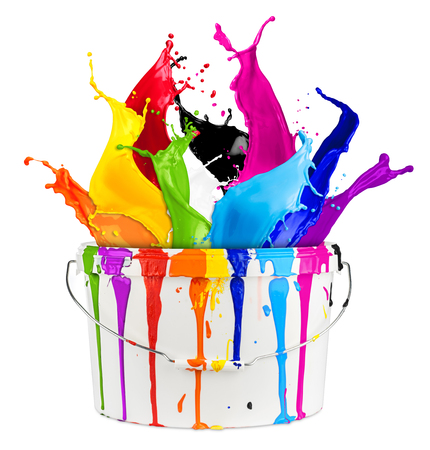 white bucket with colorful rainbow color paint splashes isolated on white background creative diy handyman renovation concept