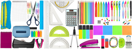 huge set collection of colorful school office supplies stationery isolated on white background study education business concept