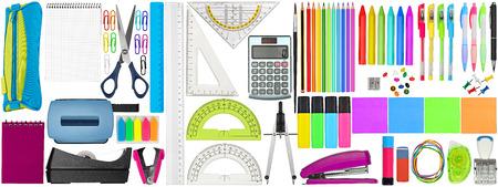 riesige Sammlung von bunten Schulbürobedarf Schreibwaren isoliert auf weißem Hintergrund Studium Bildung Business-Konzept