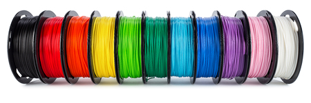 colorful bright wide panorama row of spool 3d printer pla abs filament plastic material isolated on white background Banco de Imagens - 121536879