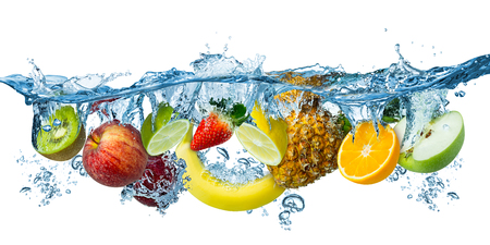 fresh multi fruits splashing into blue clear water splash healthy food diet freshness concept isolated on white background
