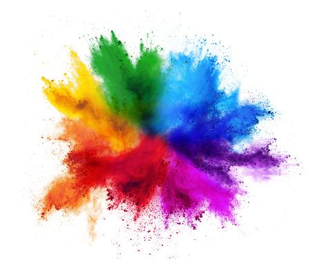 bunte Regenbogen Holi Farbe Pulver Explosion isoliert auf weißem Hintergrund Standard-Bild