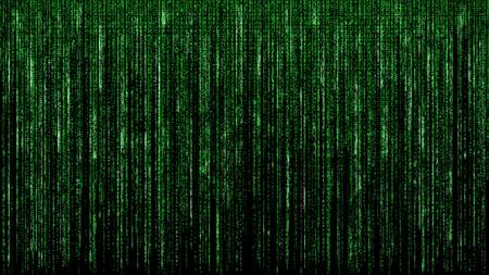 Matrice binaire verte code abstrait informatique hacker concept de réseau numérique fond noir