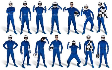 Set Collection of race driver with blue overall saftey crash helmet and chequered checkered flag isolated on white background. motorsport car racing sport concept