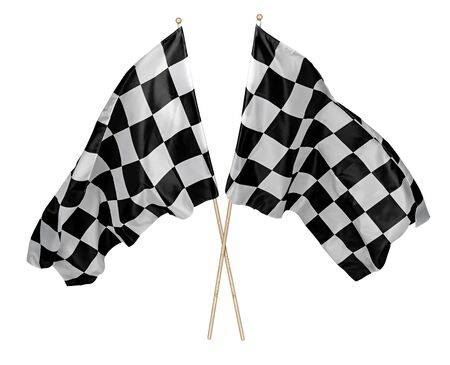 Two crossed pair of waving black white chequered flag with wooden stick motorsport sport and racing concept isolated background Stockfoto
