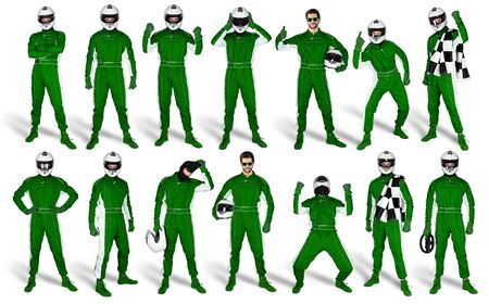 Set Collection of race driver with green overall saftey crash helmet and chequered checkered flag isolated on white background. motorsport car racing sport concept