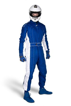 Determined race driver in blue white motorsport overall shoes gloves and integral safety crash helmet isolated on white background. Car racing motorcycle sport concept.