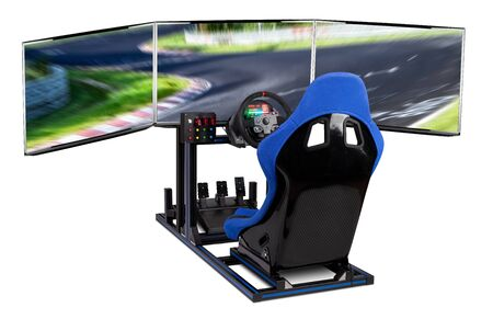 DIY simracing aluminum simulator rig for video game racing. Blue motorsport car bucket seat steering wheel pedals and tripe screen monitor setup isolated on white background