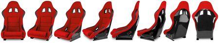 Définir la collection de voiture de course de sport automobile en fibre de carbone noir rouge tuning sim racing siège baquet isolé sur fond blanc