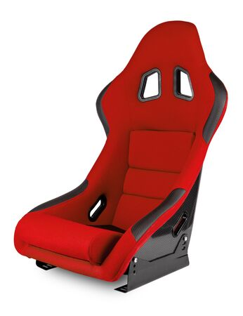 Red black carbon fiber  race car bucket seat isolated on white background. Motorsport, Sim racing, and tuning concept.