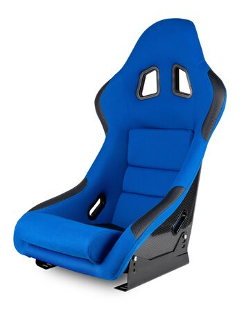 blue black carbon fiber motorsport race car tuning  sim racing bucket seat isolated on white background