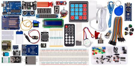 set collection microcontroller parts board display sensor button switches rfid module lcd cable wire accessories and equipment isolated on white electronics concept background Stockfoto