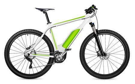 diseño ficticio de fantasía de una bicicleta eléctrica pedelec con motor a batería moutainbike. Bicicleta de montaña ecología concepto de transporte moderno aislado sobre fondo blanco. Foto de archivo