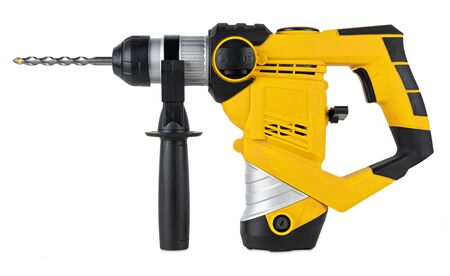 heavy yellow black jack-hammer drilling drill machine hand tool isolated on white background. Construction working industry tools concept