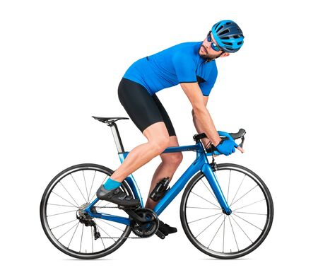 professional bicycle road racing cyclist racer  in blue sports jersey on light carbon race looking back behind.  sport training cycling concept isolated on white background Stockfoto