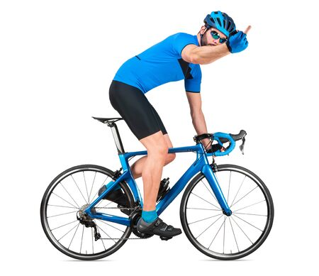 angry professional bicycle road racing cyclist racer in blue sports jersey on light carbon race showing his fury emotions middle finger. sport training cycling concept isolated on white background