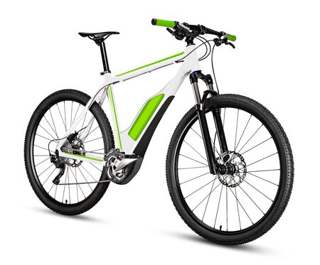 yellow black 29er mountainbike with thick offroad tyres. bicycle mtb cross country aluminum, cycling sport transport concept isolated on white background