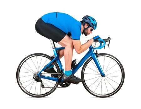professional bicycle road racing cyclist racer  in blue sports jersey on light carbon race in aerodynamic downhill descent position sport training cycling concept isolated on white background