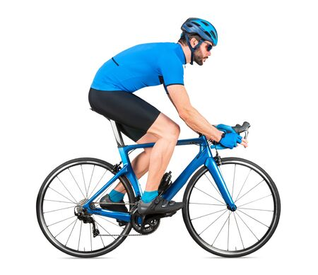 professional bicycle road racing cyclist racer  in blue sports jersey on light carbon race cycle. sport exercise training cycling concept isolated on white background