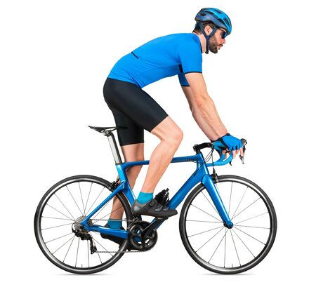 professional bicycle road racing cyclist racer  in blue sports jersey on light carbon race out of the saddle ascent uphill climbing position sport training cycling concept isolated on white background Stockfoto