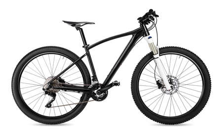 black 650b mountainbike with thick offroad tyres. bicycle mtb cross country aluminum, cycling sport transport concept isolated on white background