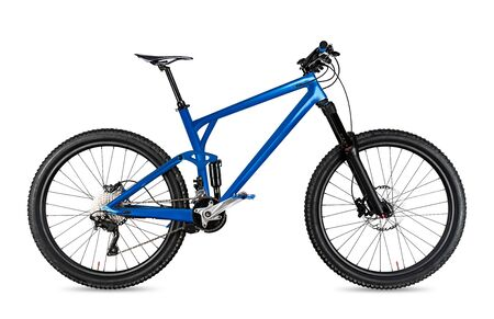 blue enduro carbon all mountain bike with full supsension and aluminum wheels. fully mountainbike for offroad bicycle extreme sport isolated on white background Stockfoto