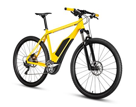 fantasy fictitious design of an yellow ebike pedelec with battery powered motor bicycle moutainbike. mountain bike ecology modern transport concept isolated on white background Stockfoto