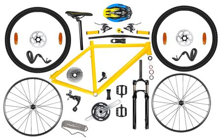 all single parts components of yellow black modern aluminum mountain bike mtb offroad sport bicycle isolated on white background