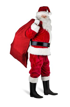 classic traditional red santa claus with red jute bag sack full of gift present ready for delivery isolated on white christmas background