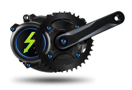 Moteur d'entraînement ebikje ou pedelec à montage central avec vis bleues, jeu de manivelles de réglage en fibre de carbone et symbole d'éclairage électrique vert isolé sur fond blanc Banque d'images