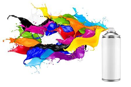 Spraydose sprühen bunte Regenbogenfarbe flüssige Farbe Splash Explosion isoliert auf weißem Hintergrund. Industrie DIY Paintjob Graffiti-Konzept.