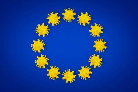 Corona Virus symbol on blue yellow european union EU flag europe background. Cornavirus COVID-19 global  outbreak pandemic epidemic medical concept. Stock fotó