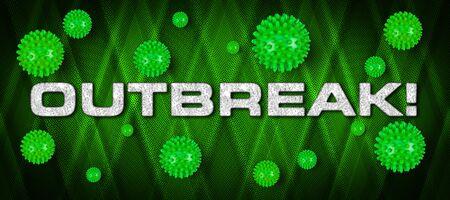 OUTBREAK!  white lettering with green COVID-19 corona virus on bright vibrant background. Cornavirus global  outbreak pandemic epidemic medical concept background Stock fotó