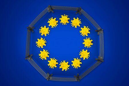 Corona Virus symbol on blue yellow european union EU flag with closed border fence europe background. Cornavirus COVID-19 global quarantine, pandemic epidemic medical isolation concept.