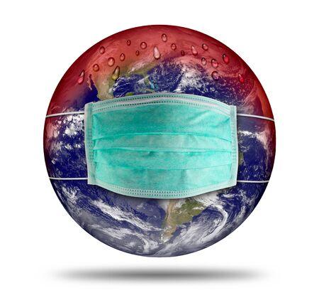 Coronavirus earth world globe with respirator breathing face dust mask. Corna virus global outbreak pandemic epidemic medical prevention concept.