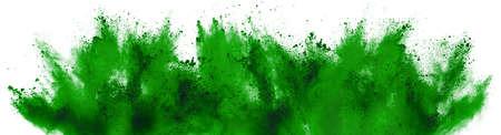 bright green holi paint color powder festival explosion isolated on white background. industrial print concept background