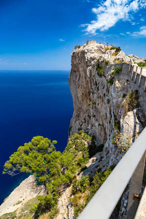 vantage point with view at Mirador Es Colomer on punta nau at cap formentor majorca mallorca. Balearic islands country of spain Standard-Bild