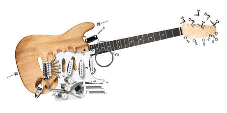 exploded view of electric guitar with all parts and components wooden body wood neck and electronics single coil pickguard pickup isolated on white background.