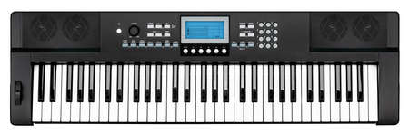 modern black piano keyboard electronic synthesizer party band studio music instrument with blue dispay screen isolated on white background Standard-Bild