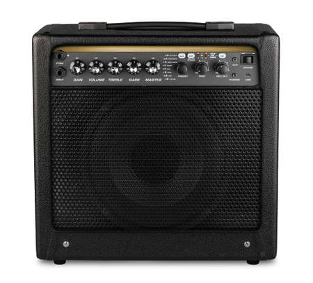 black modern electric guitar amp modeling amplifier isolated on white background rock heavy metal studio instrument concept