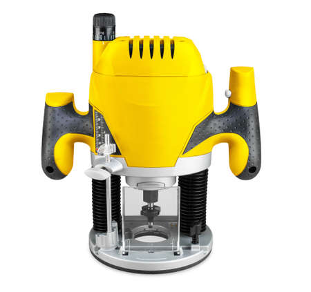 yellow electric wood router machine with cutter bit isolated on white background. carpentry construction diy concept.
