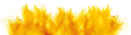 bright yellow holi paint color powder festival explosion isolated on white background. industrial print concept background