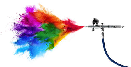 professional chrome metal airbrush acrylic color paint gun tool with colorful rainbow spray holi powder cloud explosion isolated on white panorama background. industry art scale model modeling concept