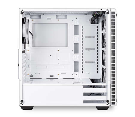 white open empty midi tower pc computer case side view on isolated  background. gaming component technology electronics concept. Standard-Bild